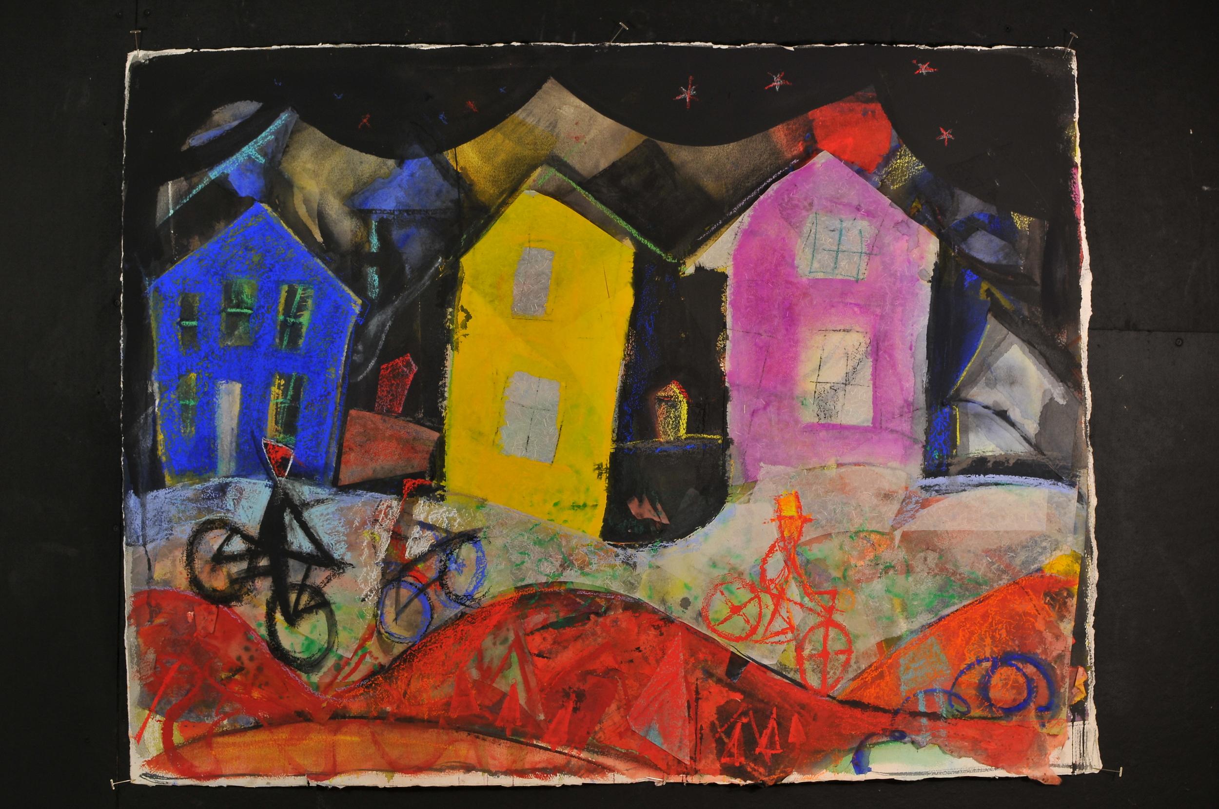 "Houses at Night -  2009-Mixed media -40 x 52"" image size"