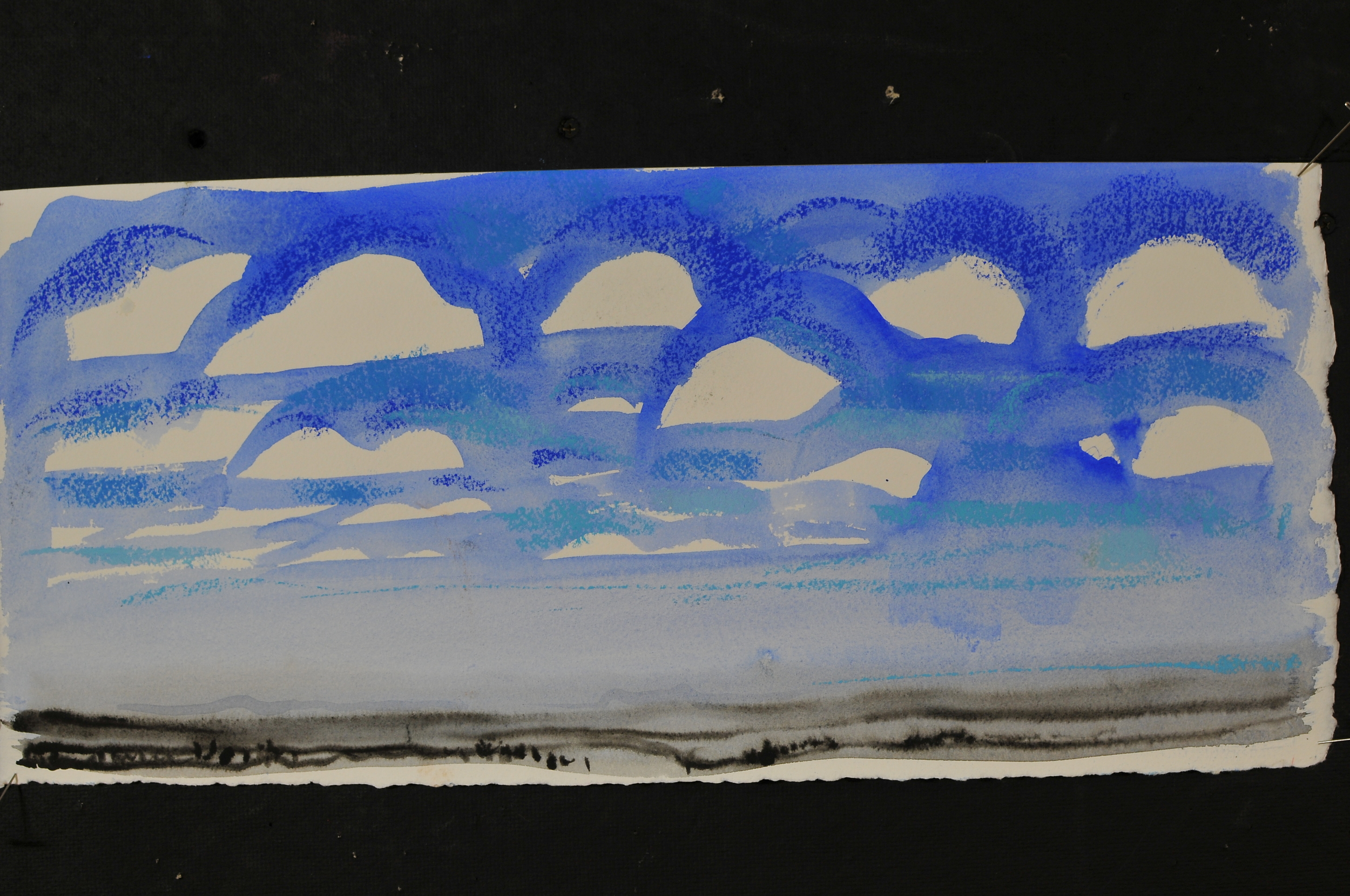 """South Dakota Sky - 2009 - Watercolor and pastel on paper - 10 x 23"""" image size"""