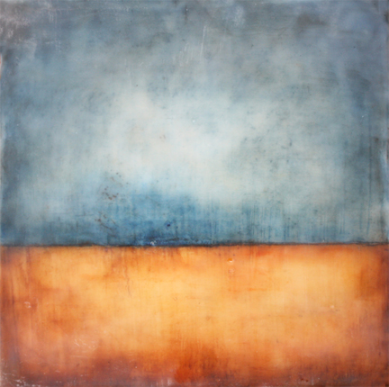 New Horizon , encaustic on panel, 8 x 8 inches