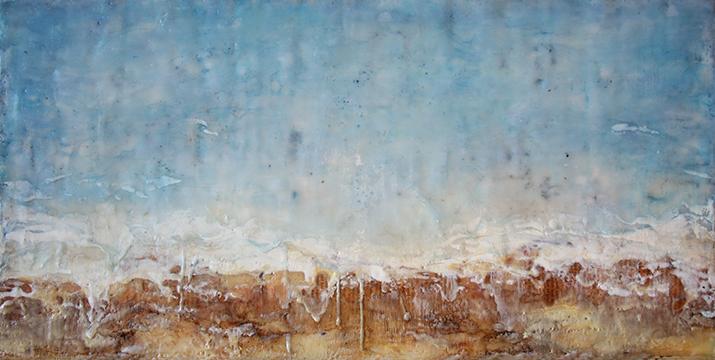 "Resurgence , Encaustic mixed media, 24"" x 12"", 2014"