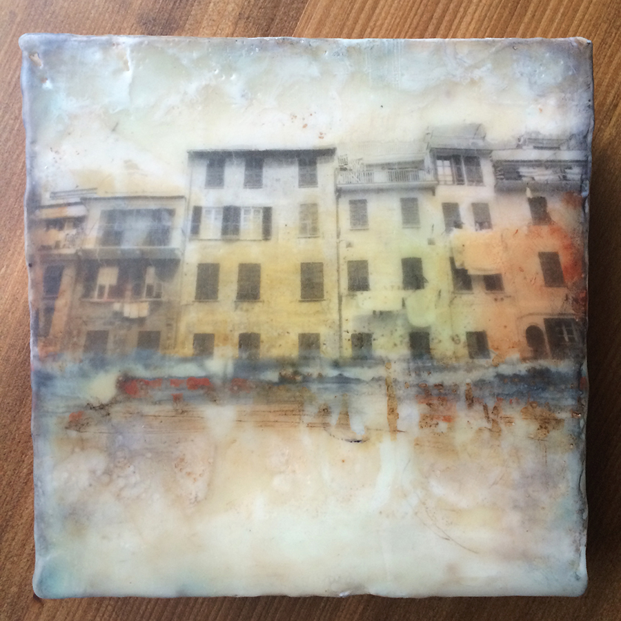 "Day Six, encaustic and image transfer on panel, 6""x6"", 2014"