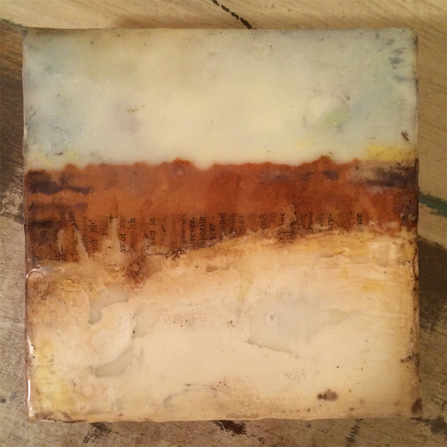 "Day Eight,  encaustic mixed media on panel, 6""x6"", 2014"