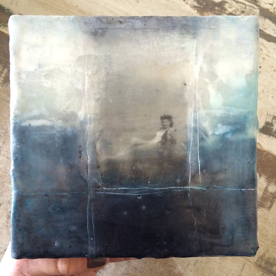 """Day Ten,  encaustic and image transfer on panel, 6""""x6"""", 2014"""