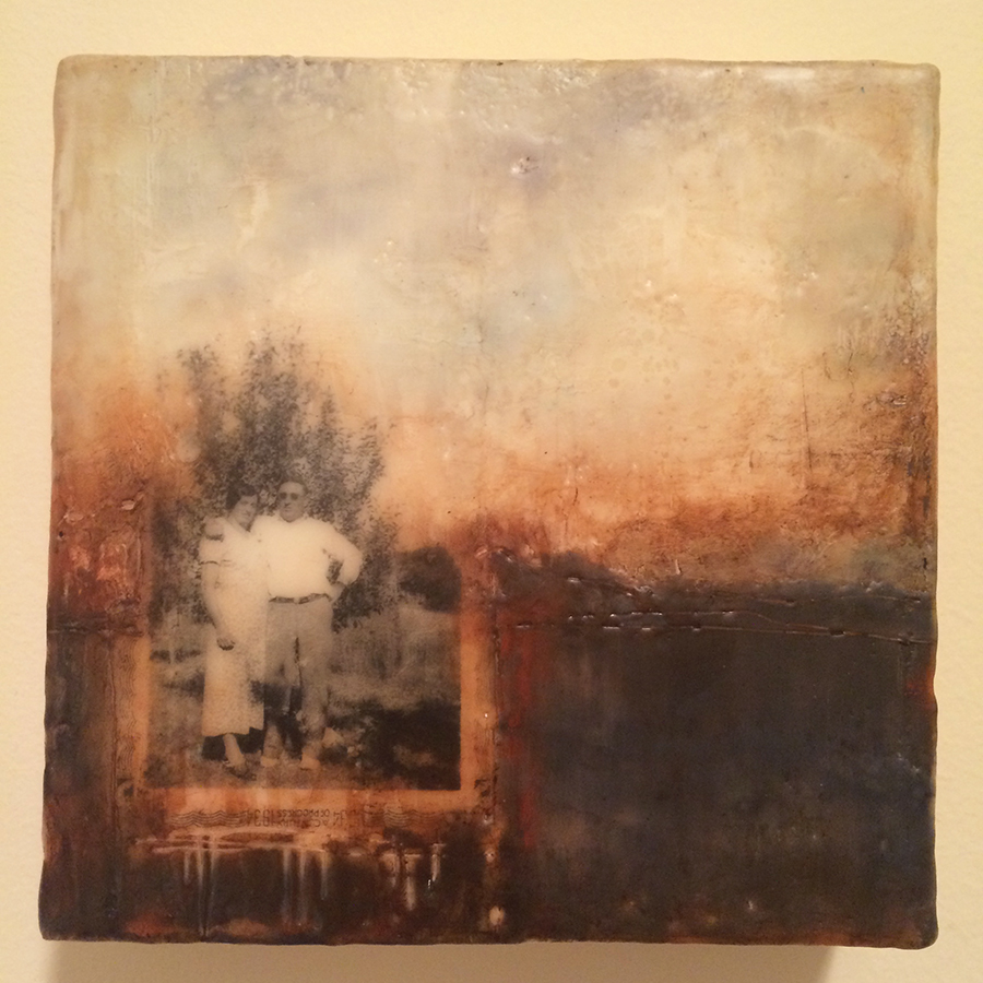 "Day Fifteen, encaustic and image transfer, 6""x6"", 2014"