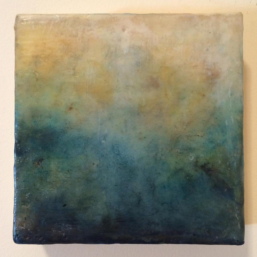 "Day Eighteen,  encaustic on panel, 6""x6"", 2014"