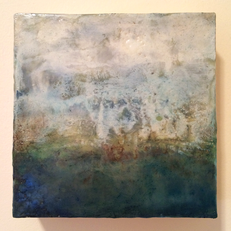 "Day Nineteen,  encaustic on panel, 6""x6"", 2014"