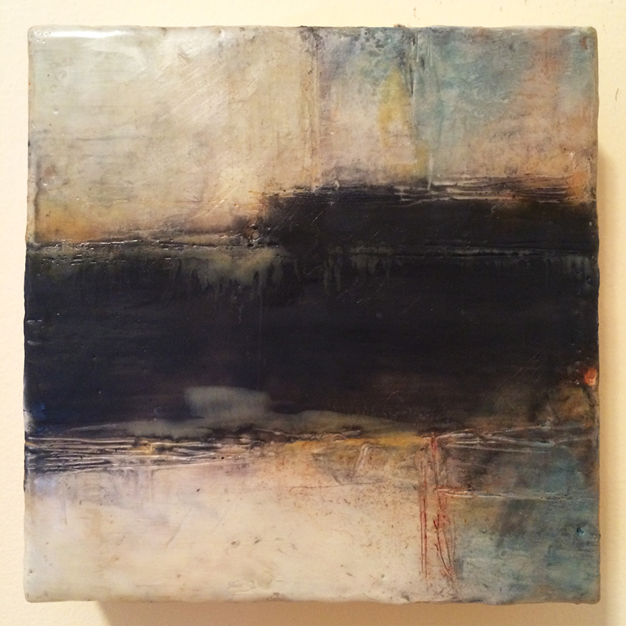 "Day Twenty-Two,  encaustic on panel, 6""x6"", 2014"