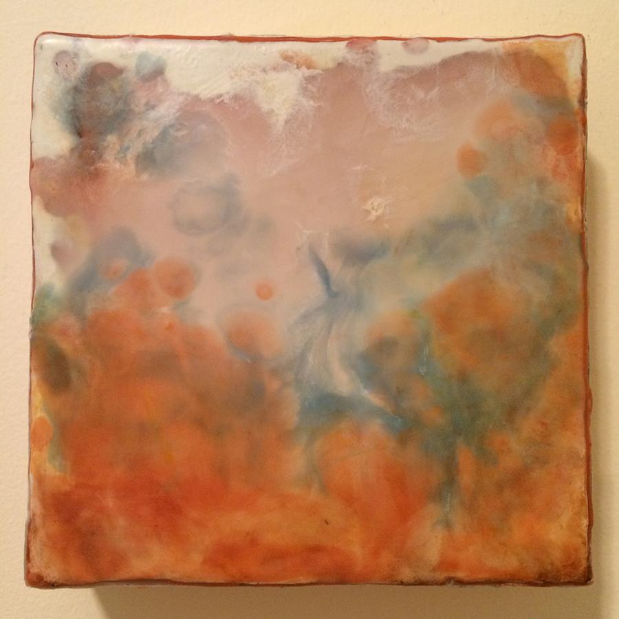 "Day Twenty-Three,  encaustic on panel, 6""x6"", 2014"
