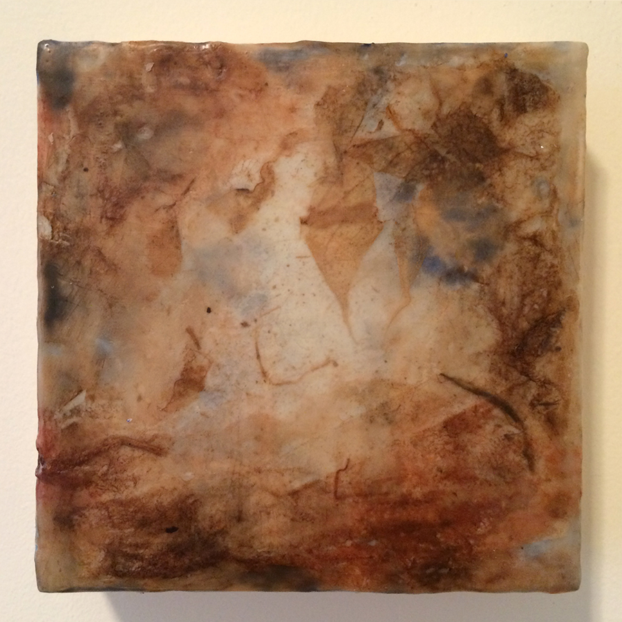 "Day Twenty-Seven,  encaustic mixed media, 6""x6"", 2014"