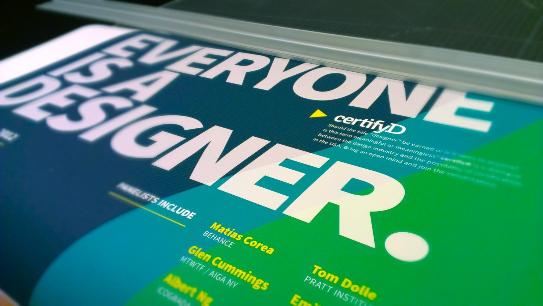 certifyD event poster. Design certification symposium. Pratt Institute. Esteban Perez Hemminger
