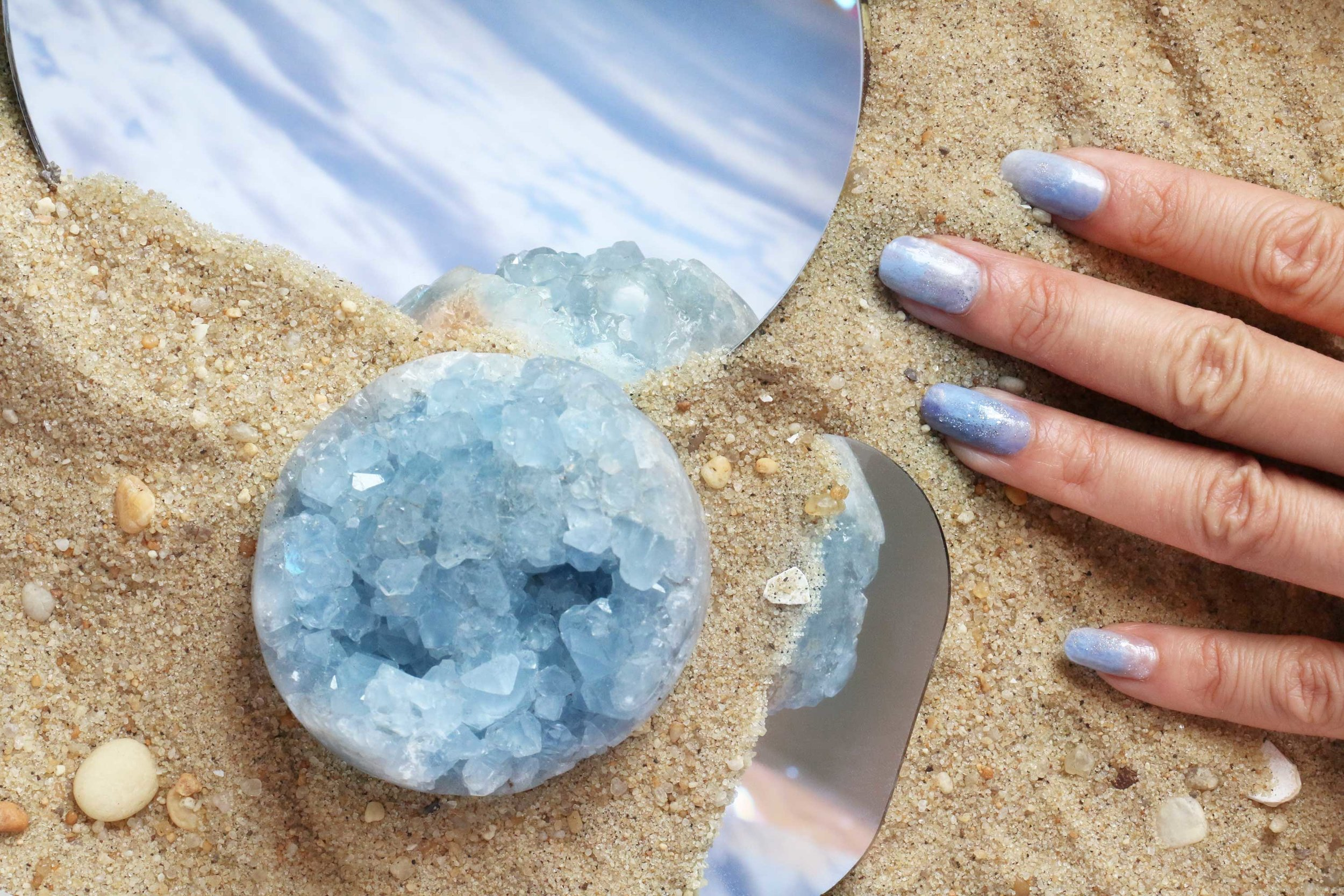 Dreamy Celestite aka The 'Everything Will Be OK' Stone inspired manicure