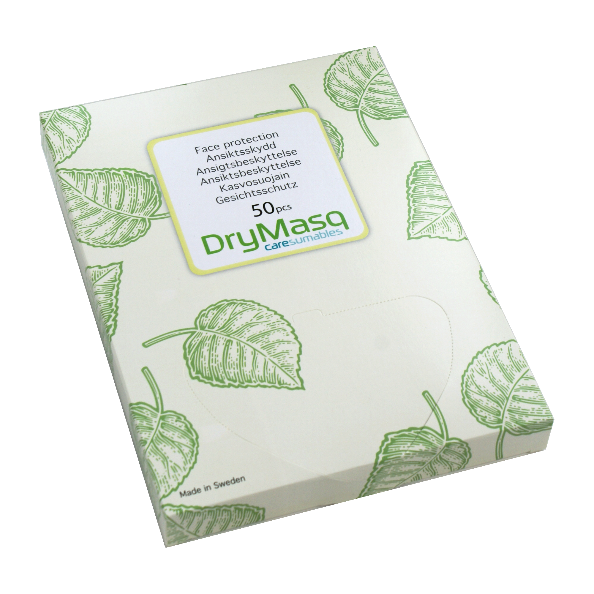The DryMasq package looks like this when you receive it. To open, please tear off the perforated part on the top.