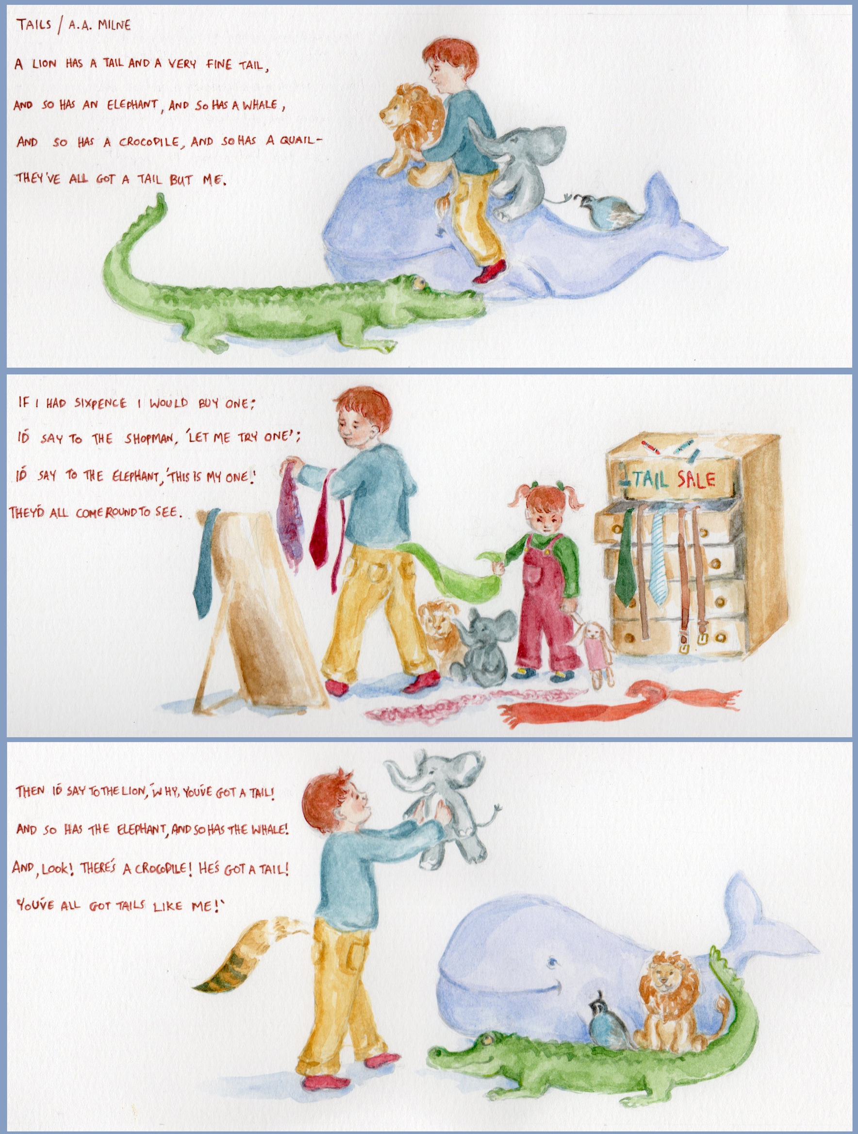 The poem: 'Tails' by A. A. Milne, illustrated by Ella Lapointe.