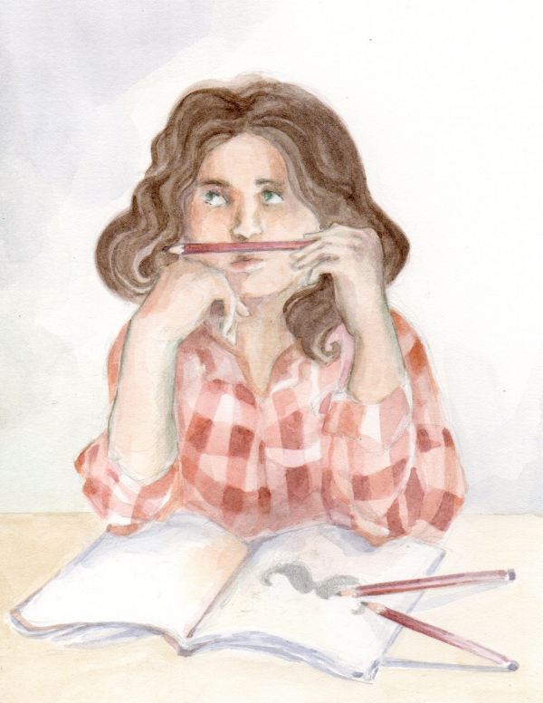 "A watercolor illustration by Ella Lapointe for the ""Illustration Friday"" challenge: ""Mustache"" ."