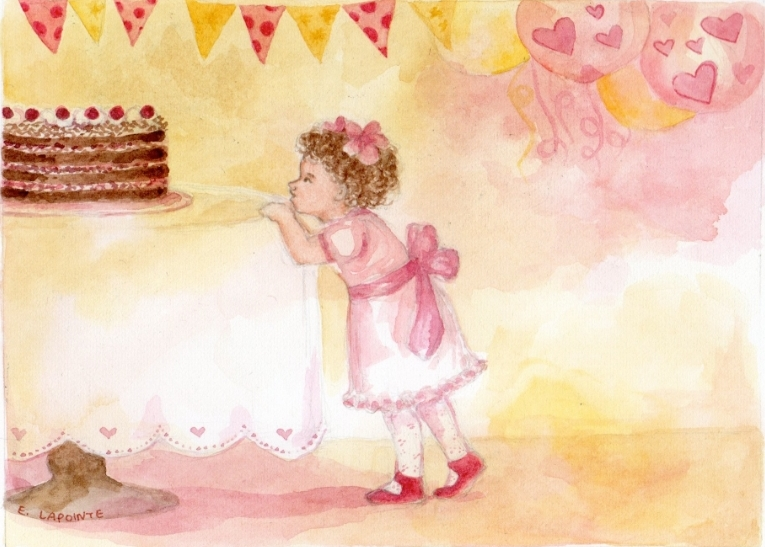 'What's this cake for?!' a watercolor illustration by Ella Lapointe.