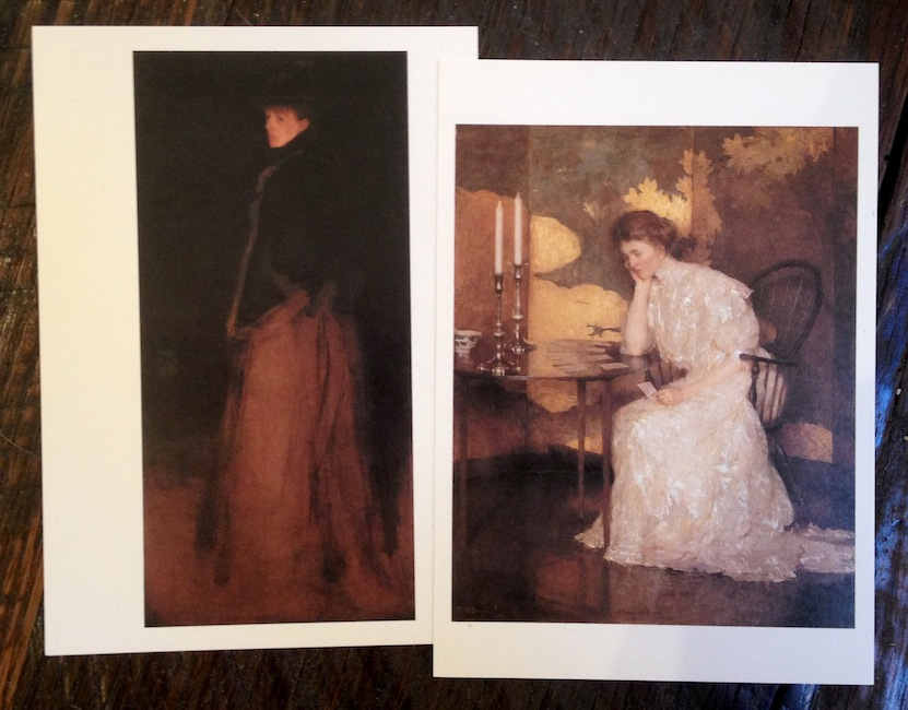 Two postcards from the Worcester Art Museum. Left: ' The Fur Jacket: Arrangement in Black and Brown ', James Abbott McNeill Whistler, Oil on Canvas, 1877. Right: ' Girl Playing Solitaire ', Frank W. Benson, Oil on Canvas, 1909.