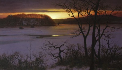 Joseph McGurl, 'Last Light, Winter', 19 x 33, Oil on Canvas.
