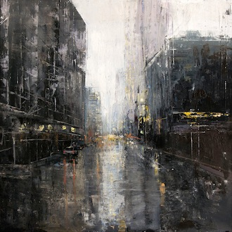 Gregory Prestegord, 'In the Rain', 48 x 48, Oil on Panel, 2013.