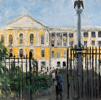 Gregory Prestegord, 'State House from Bowdoin', 47 x 47, Oil on Panel, 2013.