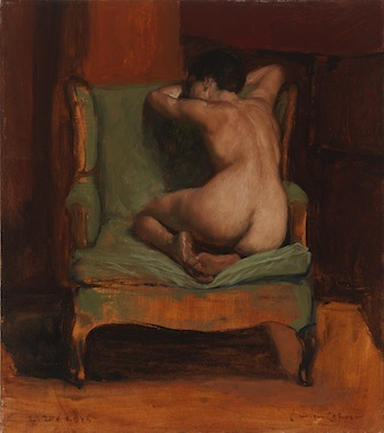 Damon Lehrer, 'Green Chair Nude', 16 x 14, Oil on Linen.