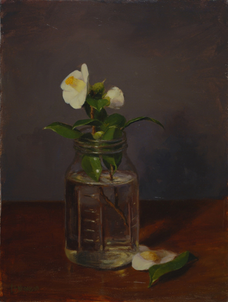 'Camellia in Ball Jar', 12 x 16, Oil on Linen on Panel, SMG ID #29