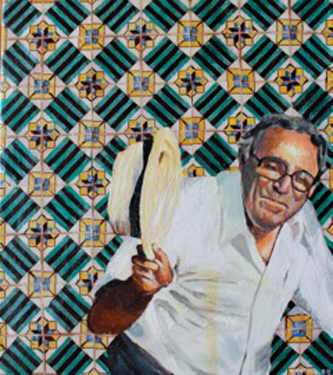 José Santos, 'Waving Goodbye', 18 x 16, Acrylic & Mixed Media on Panel