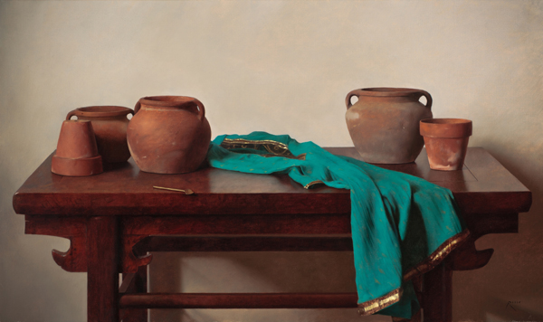 Carlo Russo, 'The Blue Dress', 25 x 42, Oil on Linen