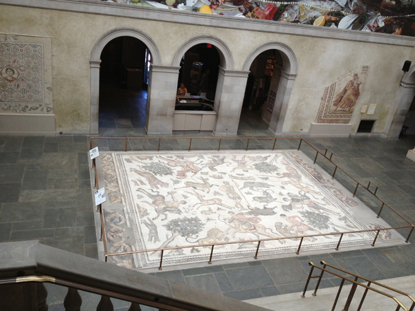 A view looking onto on of the Antioch Mosaics - The Worcester Hunt Mosaic