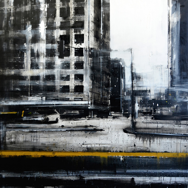 Daniele Cestari, 'Yellow Line', 40 x 40, Oil on Linen.