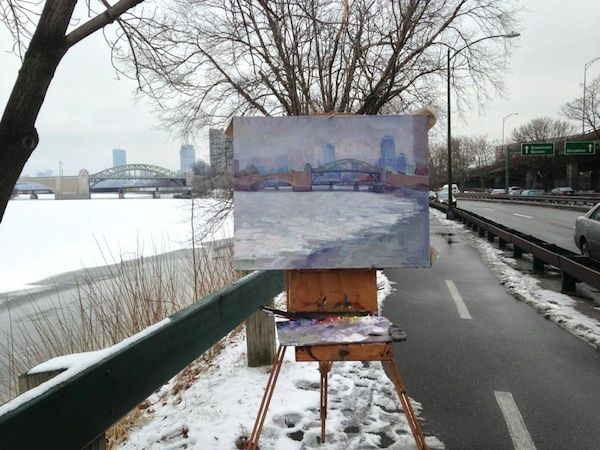 Painting from the Storrow bike path