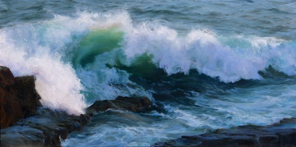 Sally Ladd Cole, 'Acadia Wave', 24 x 48, Oil on Linen, SMG ID #241