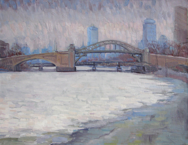 Leo Mancini-Hresko, 'BU Bridge, February', 22 x 28, Oil on Linen