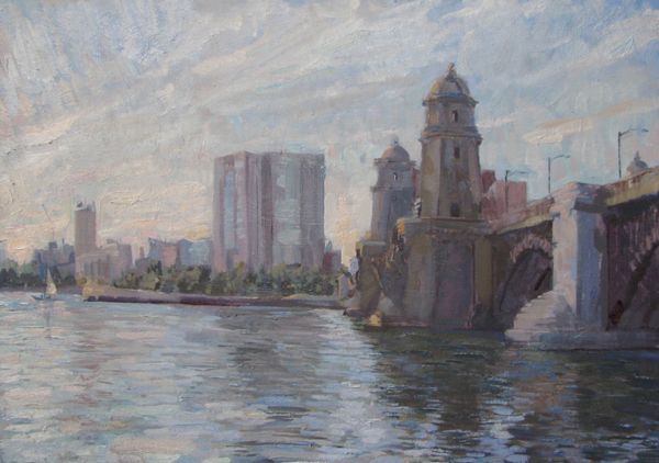 Leo Mancini-Hresko, 'Longfellow Bridge', 14 x 20, Oil on Panel, SOLD