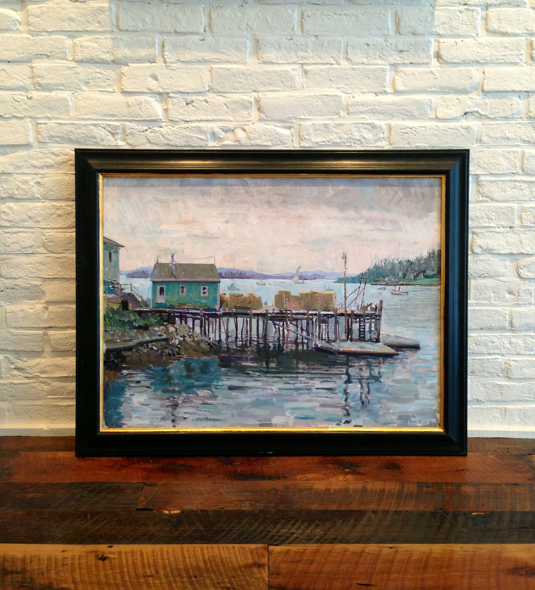 'Lobster Dock, Stonington' Framed