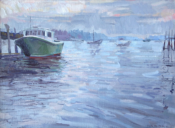 'Lobster Boats', 12 x 16, Oil on Linen, 2013.