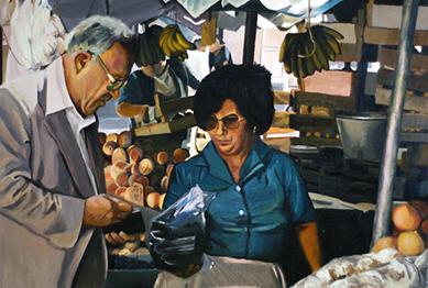 José Santos, 'At the Market', 24 x 36, Acrylic on Panel