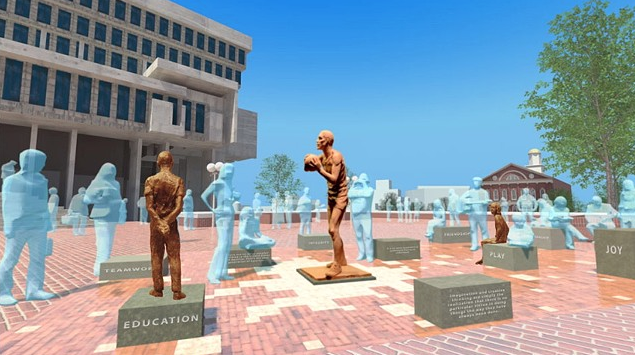 Entire concept for The Bill Russell Legacy Project at Boston City Hall Plaza