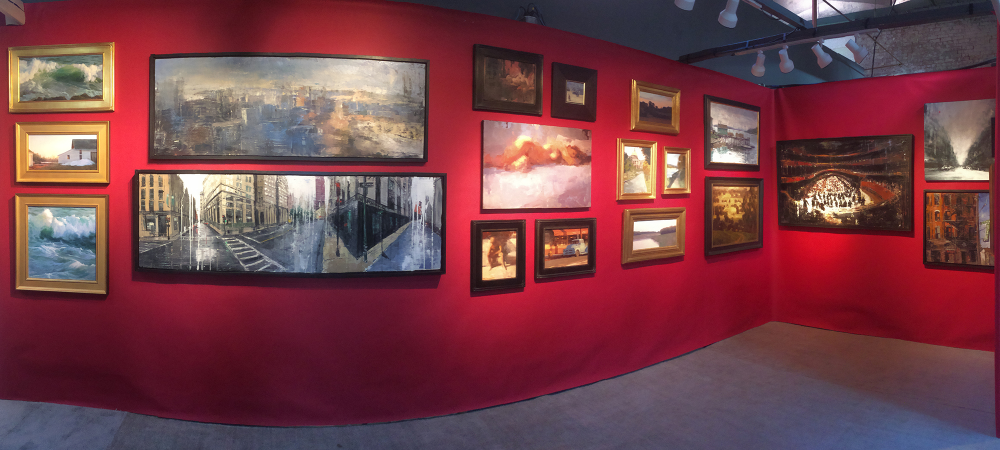 Panoramic of our booth featuring Sally Ladd Cole, Gregory Prestegord, Terry Miura, Frank Strazzulla, Leo Mancini-Hresko, Jussi Poyhonen, & Daniele Cestari.