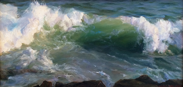 Sally Ladd Cole, 'Waves Over the Rocks', 12 x 24, Oil on Linen, $3,900.