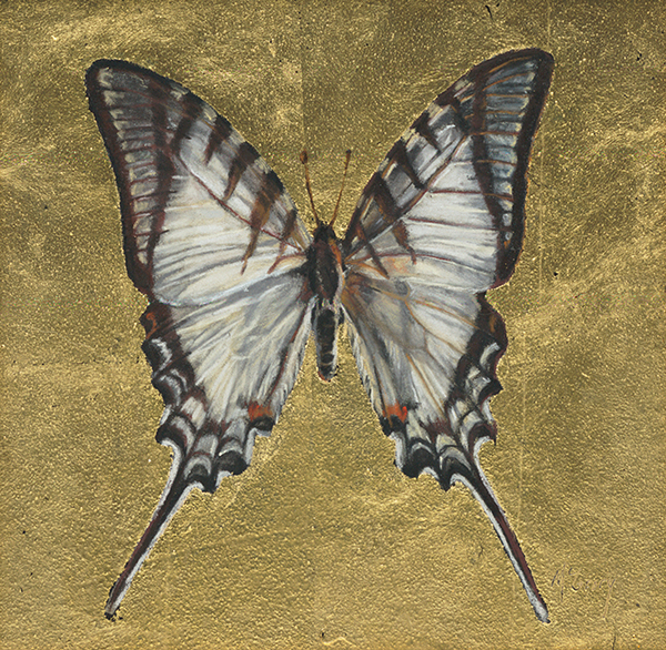 Anne McGrory, 'Butterfly I', 6 x 6, Pastel & 22k Gold Leaf, $950.