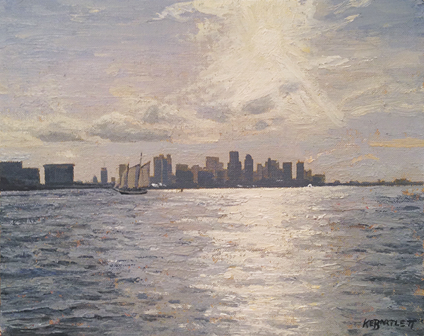 Kyle Bartlett, 'Boston Harbor Glare', 8 x 10, Oil on Linen on Panel, $950.