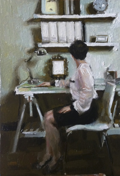 Mary Sauer, 'Lauren', 6 x 4, Oil on Paper on Panel