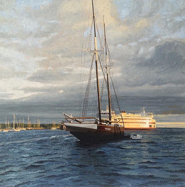 'Daybreak on the Harbor', 20 x 20, Oil on Linen, SOLD