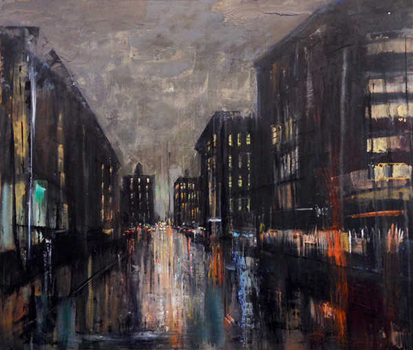 Gregory Prestegord, 'Night Streets, Boston', 41 x 48, Oil on Panel, 2014