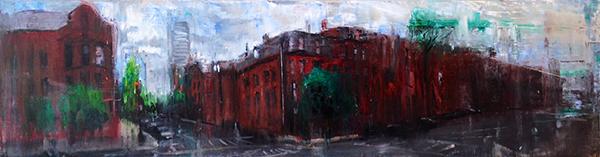 Gregory Prestegord, 'Boston Streets', 16.5 x 60, Oil on Panel, 2014