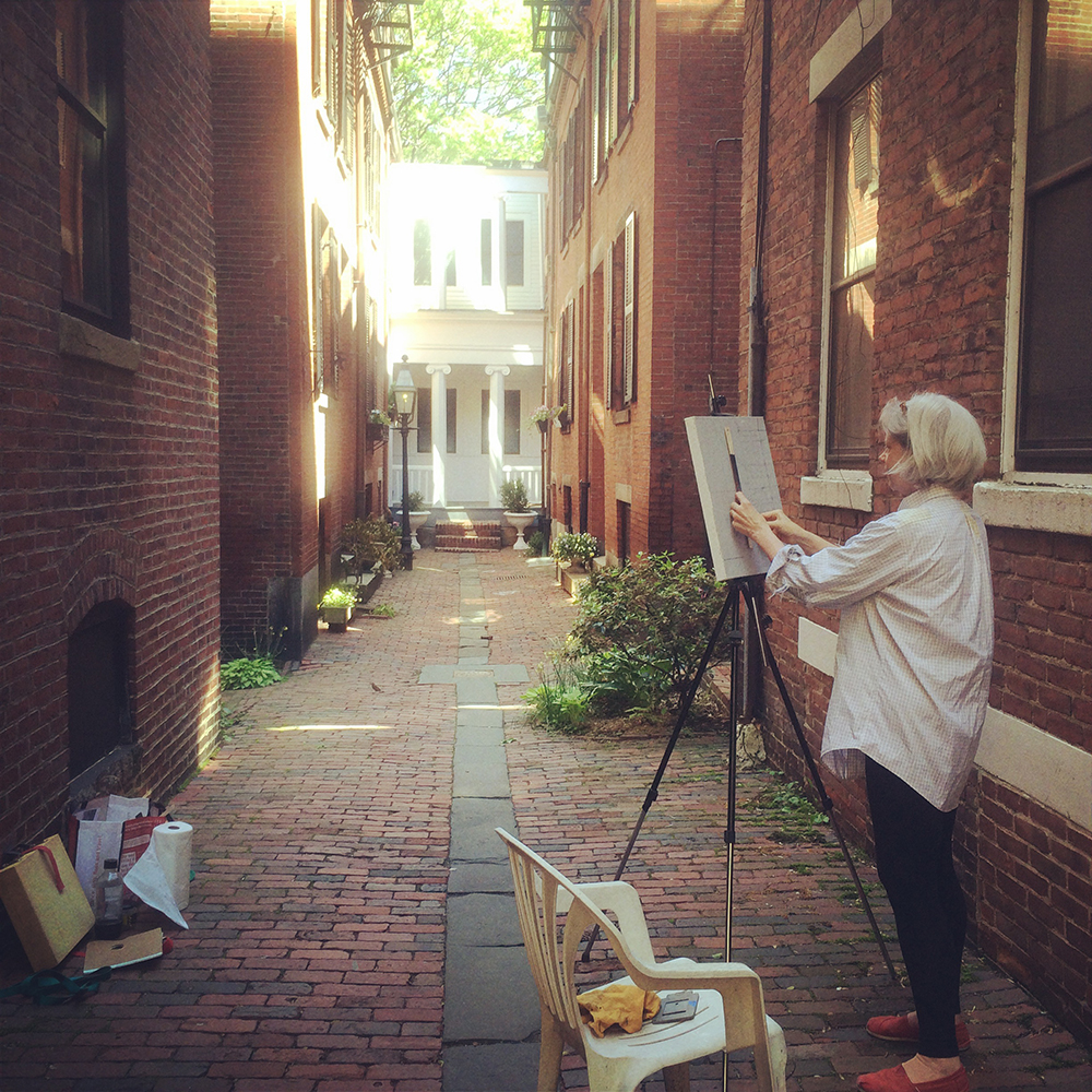 Brigid Williams painting on Rollins Place