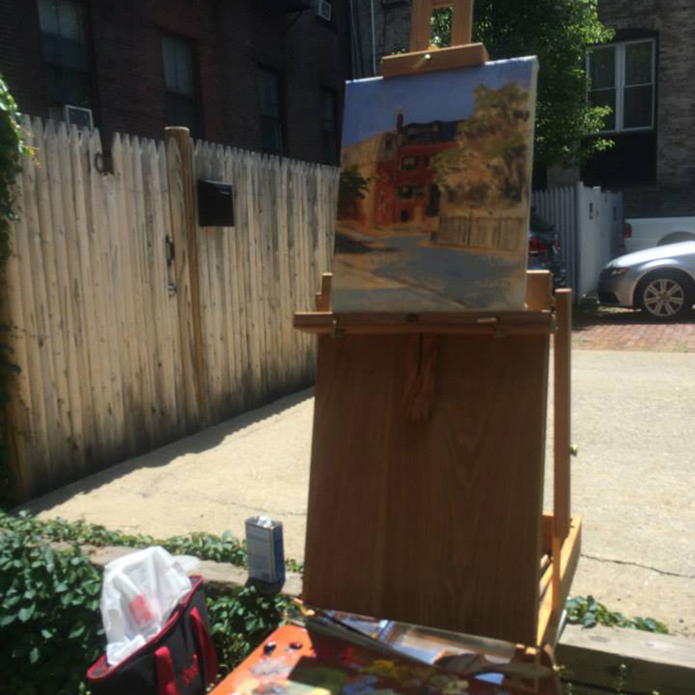 Gallery artist Kyle Bartlett's finished painting in Mt. Vernon Square