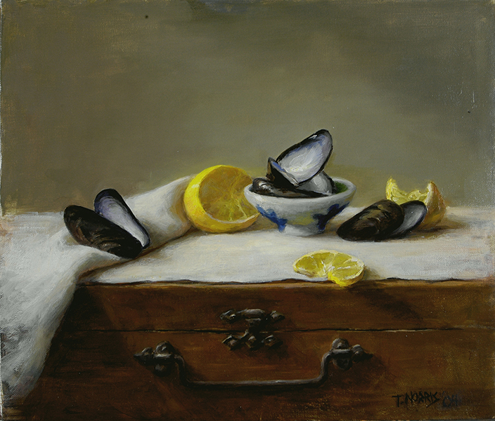 'Mussel Shells with Lemon', 12 x 14, Oil on Linen on Panel, SOLD