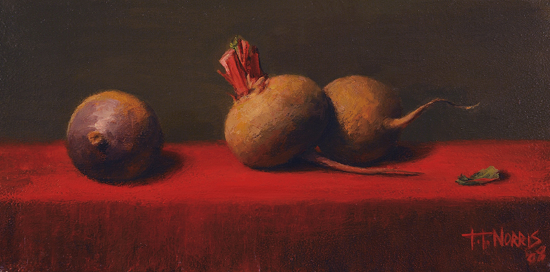 'Three Beets on Red', 6 x 12, Oil on Panel, SOLD