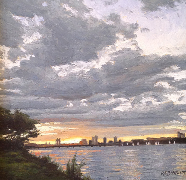 'Sunset & Clouds, Charles River', 10 x 10, Oil on Linen, SOLD